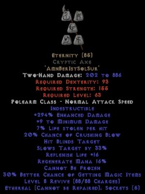 Eternity - Cryptic Axe - Ethereal - 290-309% ED