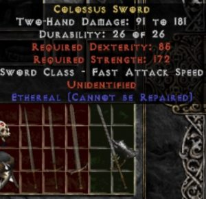 10x Unid Rare Colossus Sword Ethereal