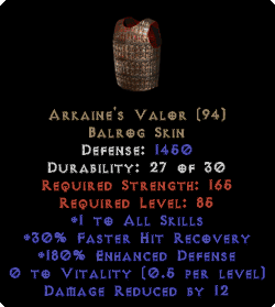 Arkaine's Valor +1 All Skills & 180% ED