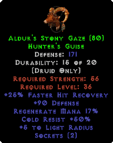 Aldur's Stony Gaze - 50% Cold Res & 171 Defense - Perfect