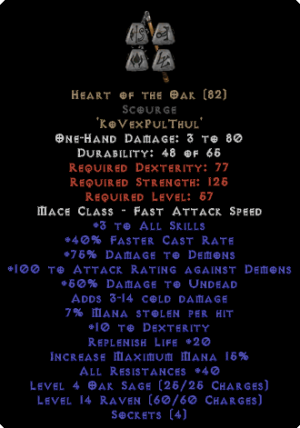 Heart of the Oak Scourge - 40 Res - Perfect