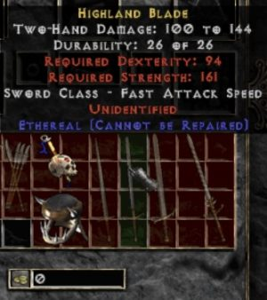 10x Unid Rare Highland Blade Ethereal