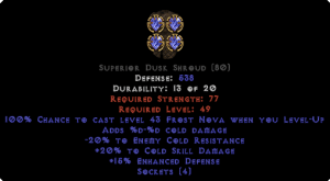 =+20/-20 Cold Facet Level-Up Dusk Shroud