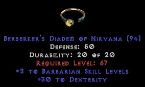 -+2 Barbarian Skills/30 Dex Diadem/Tiara/Circlet - 0 Socket
