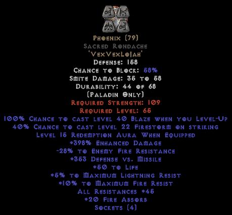 Phoenix Sacred Rondache 45 All Res - 380-399% ED & 15 Aura