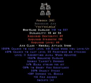 Phoenix Berserker Axe - 350-379% ED