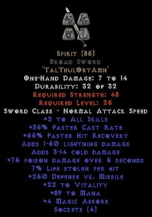 Spirit Broad Sword - 35% FCR/89-111 Mana/3-8 MA