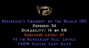 -+2 Barbarian Skills/20% FCR Diadem/Tiara/Circlet - 0 Socket