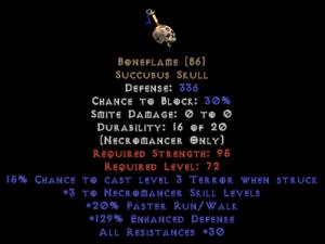 Boneflame +3 skill & 30 res