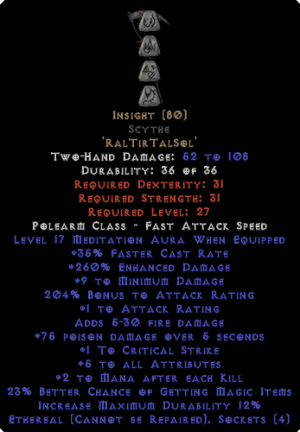 Insight Scythe - Ethereal - 17 Med & 260-274% ED - 0-14% ED Base