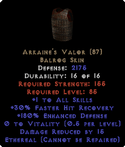 Arkaine's Valor - Ethereal - +1 All Skills & 180% ED