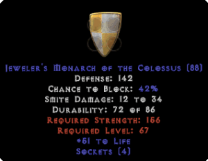Jeweler's Monarch of the Colossus - 133-147 Def - 40-59 Life - Jmoc