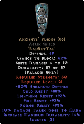 Ancients' Pledge Aerin Shield - 45 All Res
