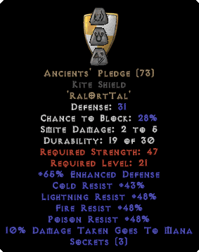 Ancients' Pledge Kite Shield - Base 15% ED