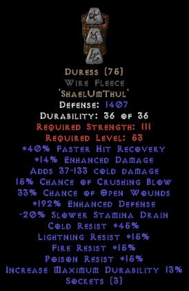 Duress Wire Fleece - 185-199% EDef