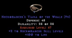 -+2 Necromancer Skills/100 Life Diadem/Tiara/Circlet - 2 Socket