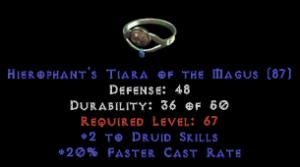 -+2 Druid Skills/20% FCR Diadem/Tiara/Circlet - 0 Socket