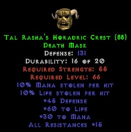 Tal Rasha's Horadric Crest - 131 Def - Perfect