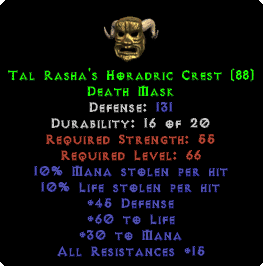 Tal Rasha's Horadric Crest - 131 Def - Perfect