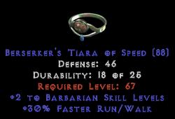-+2 Barbarian Skills/30% FRW Diadem/Tiara/Circlet - 0 Socket