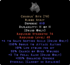 Cerebus' Bite - Ethereal - +4SS/+2FR/10% LL