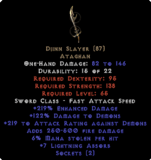 Djinn Slayer - 2 Sockets & 6% ML