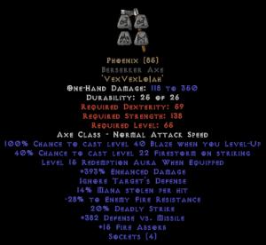 Phoenix Berserker Axe - 350-379% ED & 15 Aura