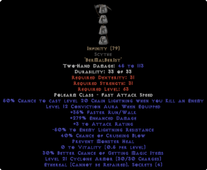 Infinity Scythe - Ethereal - 255-294% ED & -45-54% ELR