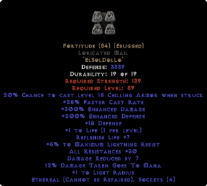 Fortitude Loricated Mail - Eth Bugged - 30 Res & 1.5 Life - Perfect