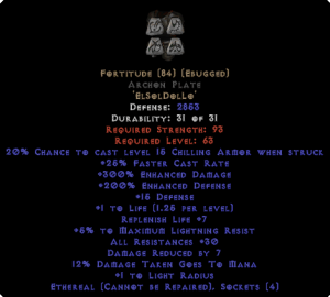 Fortitude Archon Plate - Eth Bugged - 30 Res & 1.5 Life - Perfect