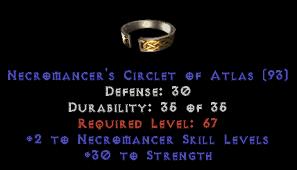 -+2 Necromancer Skills/30 Str Diadem/Tiara/Circlet - 2 Socket
