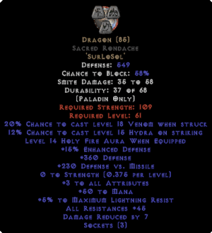 Dragon Sacred Rondache - 45 Res - 3-4 All Stats - Base 15% ED