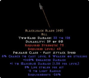 Blackleach Blade - 140% ED - Perfect