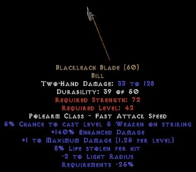 Blackleach Blade - 140% ED - Perfect