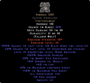 Phoenix Sacred Rondache 45 All Res - 350-379% ED & 15 Aura