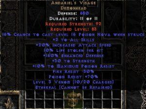 Andariel's Visage - Ethereal - 10% LL/30 Str/150% ED - Perfect