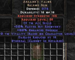 Arkaine's Valor - Ethereal - 2 Skills & 180% ED