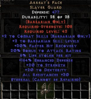 Arreat's Face - Ethereal - 150-179% ED