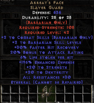 Arreat's Face - Ethereal - 150-169% ED & 6% LL