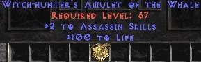 Assassin Amulet - 2 All Assn Skills & 100 Life