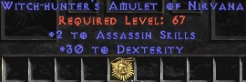 Assassin Amulet - 2 All Assn Skills & 30 Dex