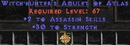 Assassin Amulet - 2 All Assn Skills & 30 Str
