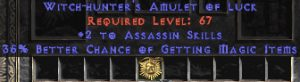 Assassin Amulet - 2 All Assn Skills & 35% MF