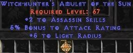 Assassin Amulet - 2 All Assn Skills & 5% AR
