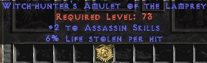 Assassin Amulet - 2 All Assn Skills & 6% LL