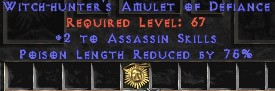 Assassin Amulet - 2 All Assn Skills & 75% PLR