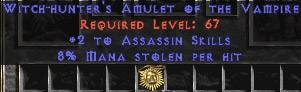 Assassin Amulet - 2 All Assn Skills & 8% ML