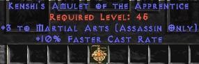 Assassin Amulet - 3 Martial Arts & 10% FCR