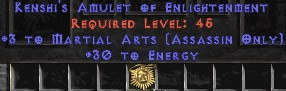 Assassin Amulet - 3 Martial Arts & 30 Energy