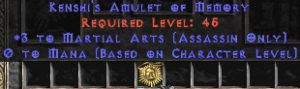 Assassin Amulet - 3 Martial Arts & 0.75 MPL